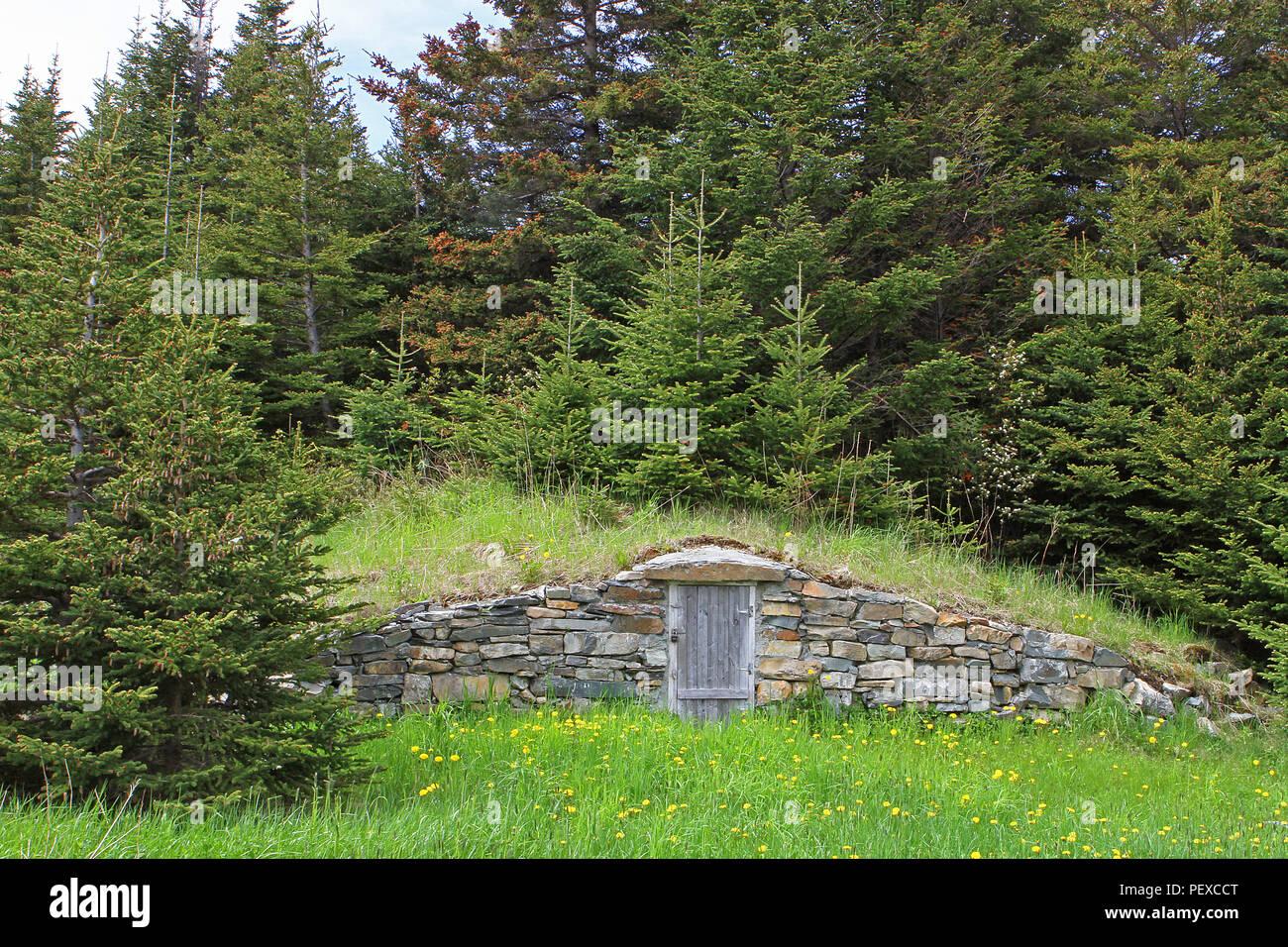 Elliston, Neufundland, Kanada. Die Wurzel Keller Hauptstadt der Welt. Stockbild