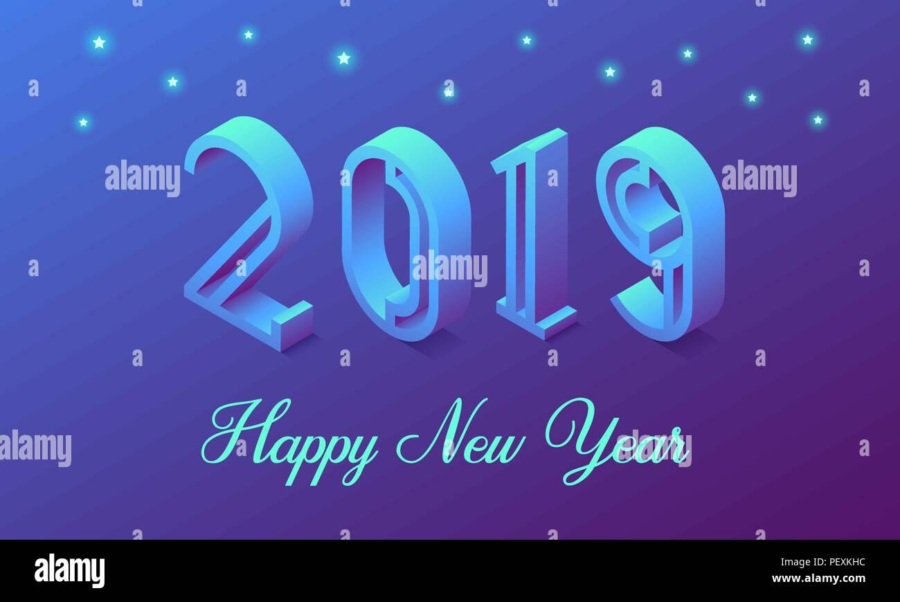 Neues Jahr 2019 in isometrischer Stil. Vektor isometrische ...