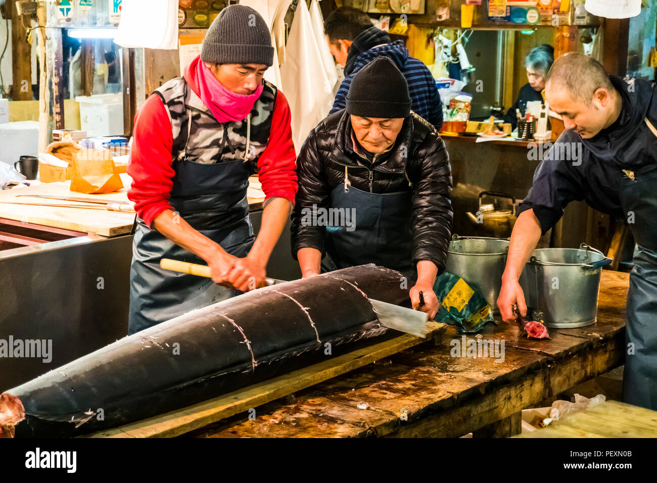 Tsukiji-Fischmarkt in Tokio, Japan Stockbild