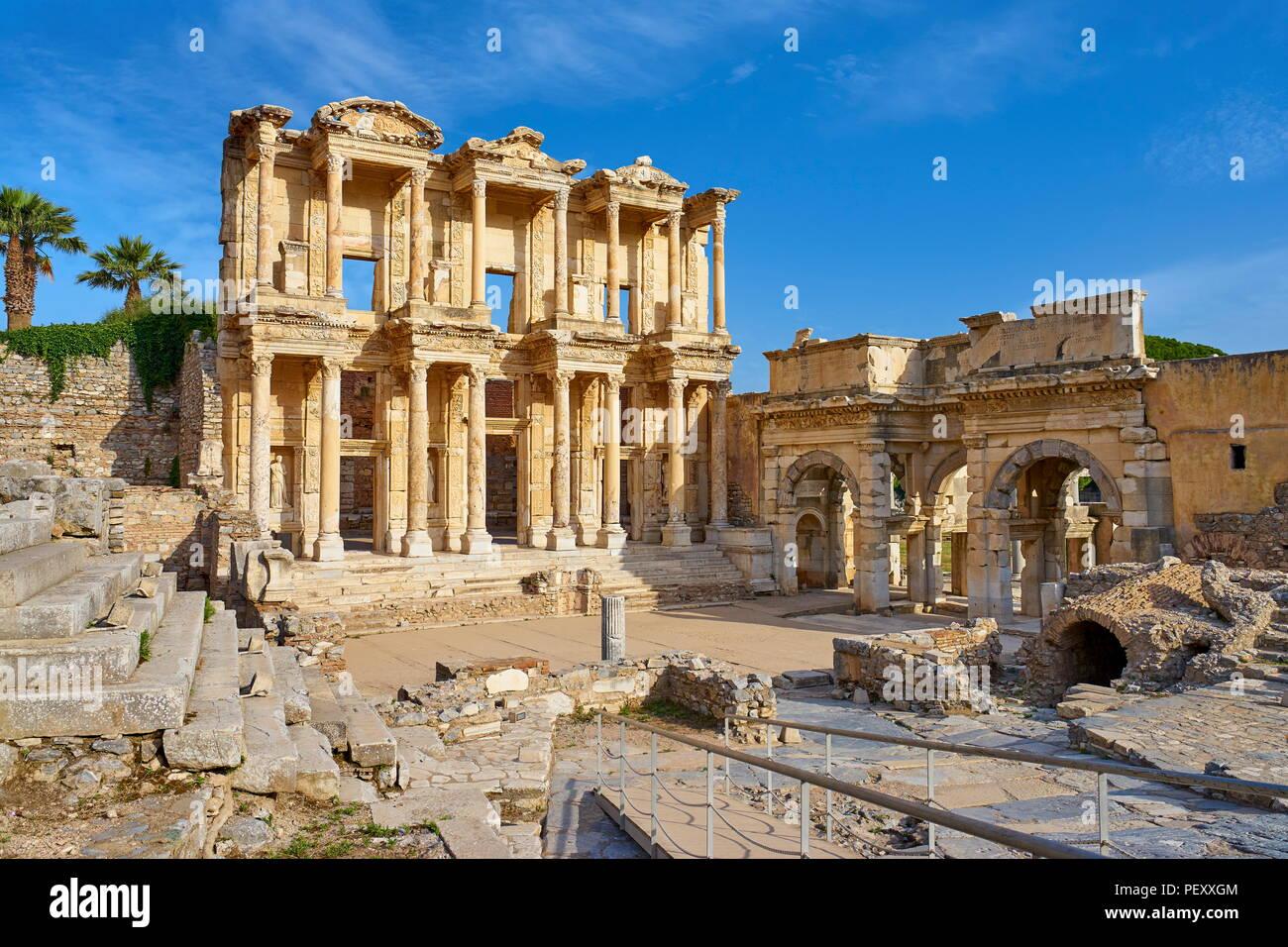 Efes - Bibliothek des Kelsos in Ephesus antike Stadt, Izmir, Türkei Stockbild