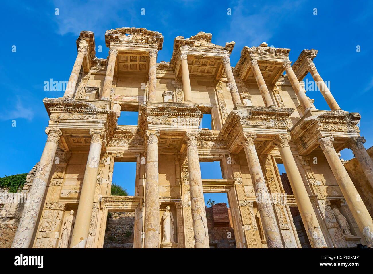 Efes, Bibliothek des Kelsos in Ephesus antike Stadt, Izmir, Türkei Stockbild