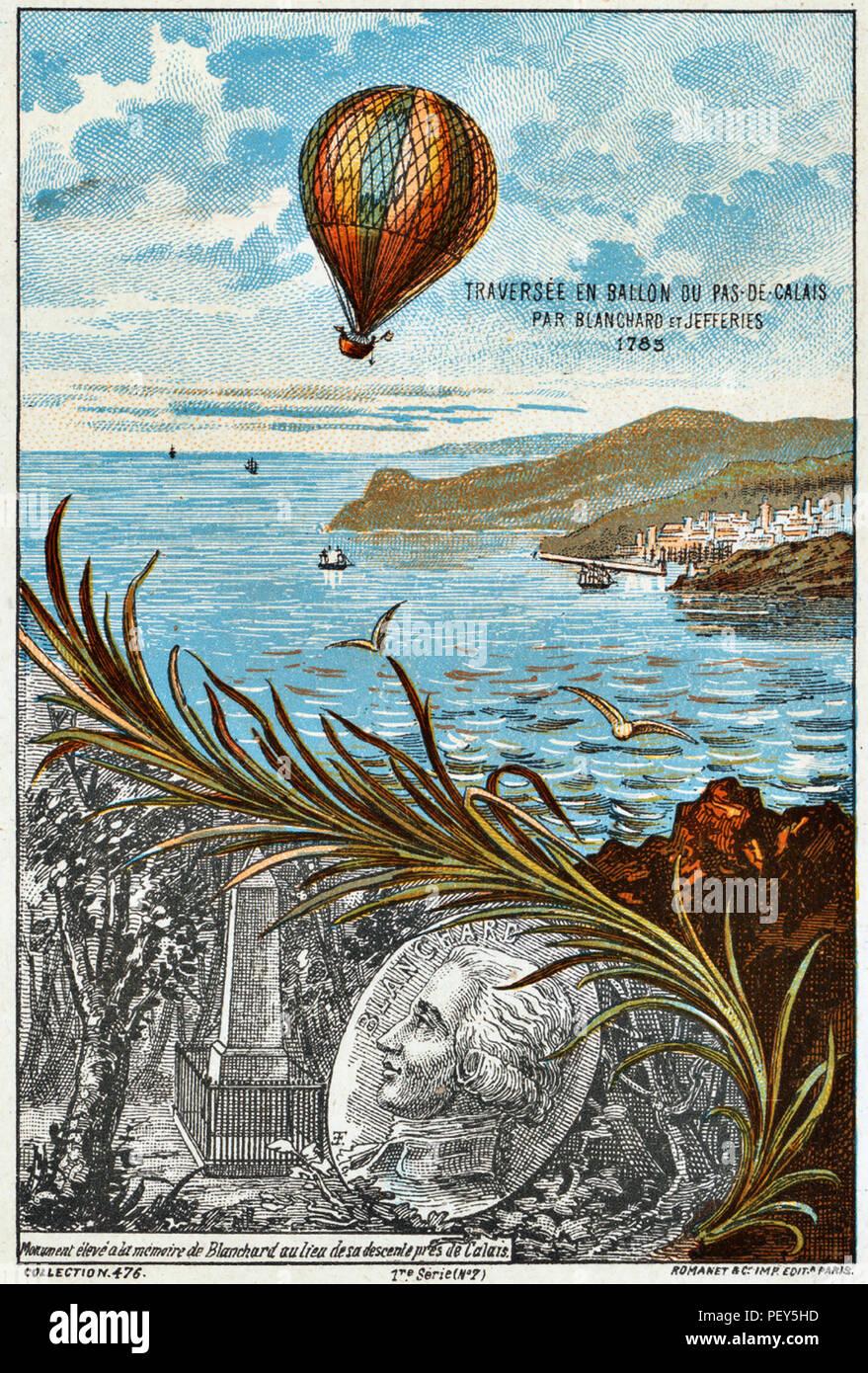 JEAN-PIERRE BLANCHARD eine französische Ballonfahrer und eine Amerikanische John Jeffries den Ärmelkanal am 7. Januar 1785 als auf einer französischen Postkarte gezeigt. Stockfoto