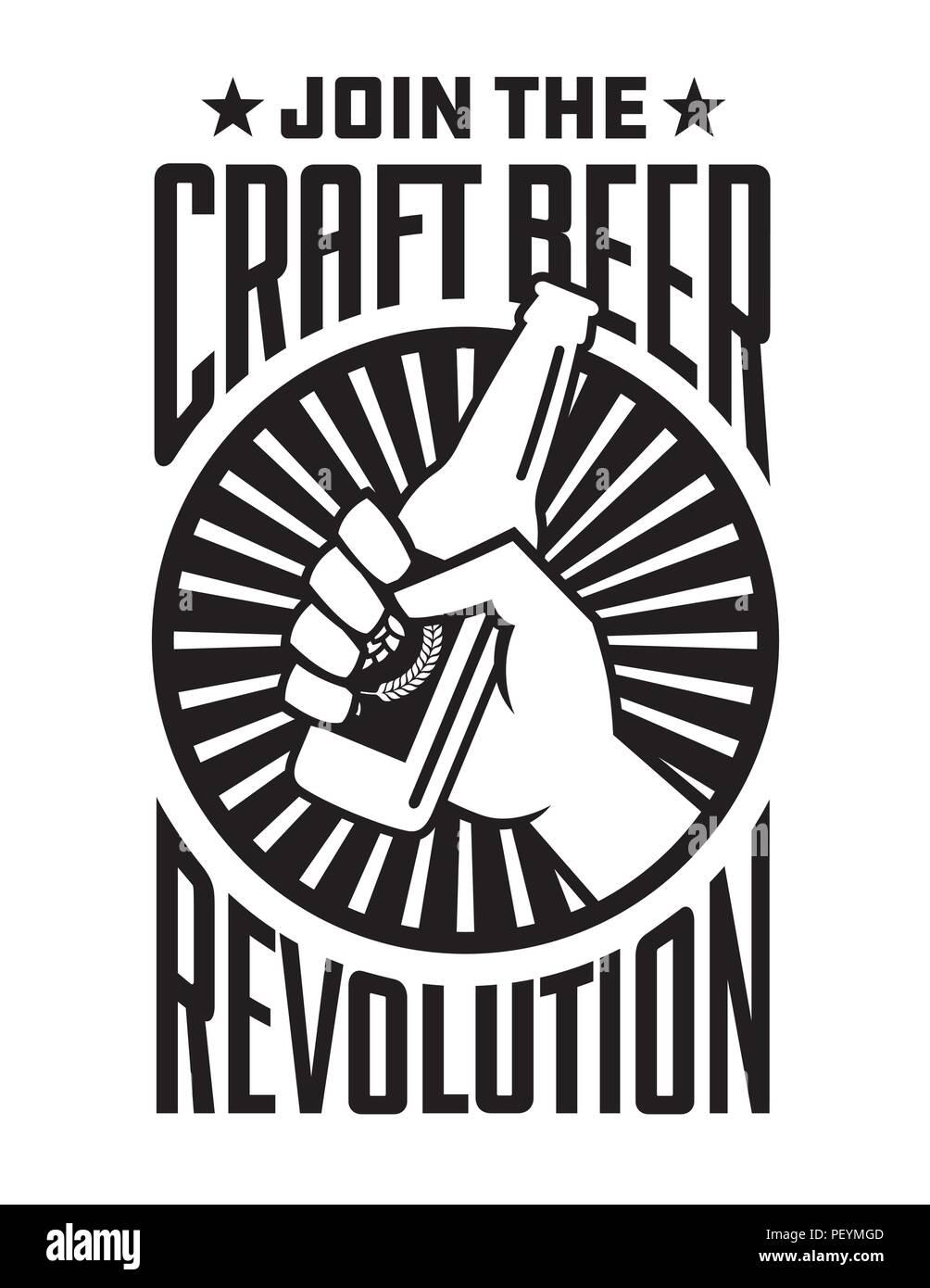 Handwerk Bier Revolution Vektor zugeschickt oder Label Design. Faust Holding eine Flasche Handwerk Bier in retro Logo Banner Design. Stockbild