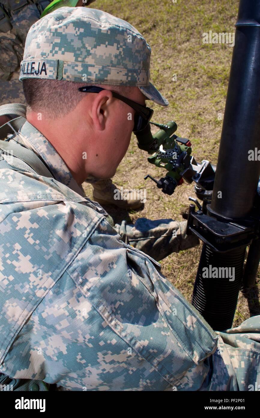 Der Mörtel gun crews Task Force Hurrikan zugeordnet getestet ihre Kenntnisse und die Fähigkeit, harmonisch, wie eine Mannschaft während der GUNNER Prüfung über die Arbeit am Camp Blanding gemeinsame Training Center während der vor-Mobilisierung Training 19.02.2016 bis 11. März 2016. Stockbild