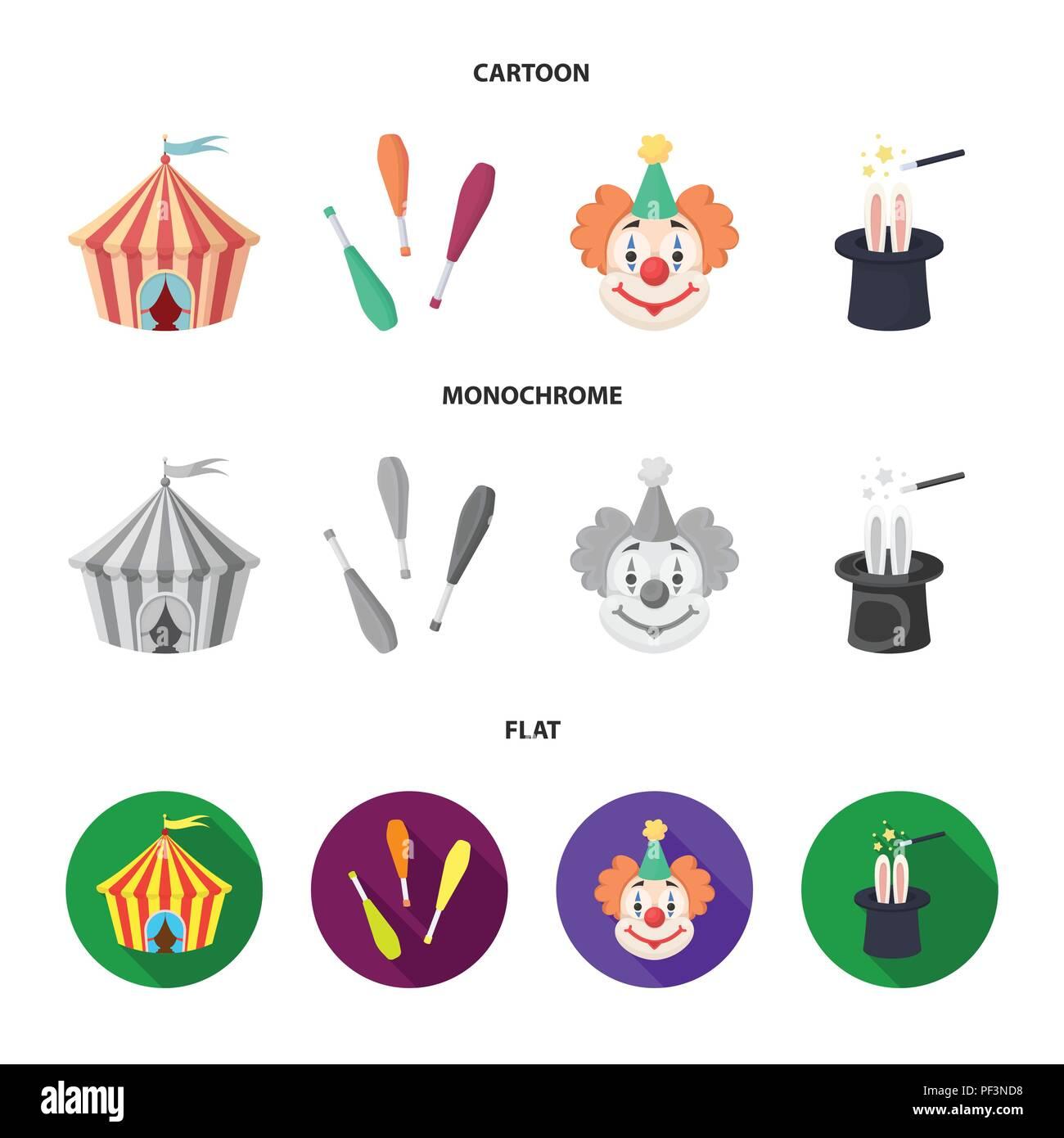 Zirkuszelt Jongleur Streitkolben Clown Zauberer Hut Circus