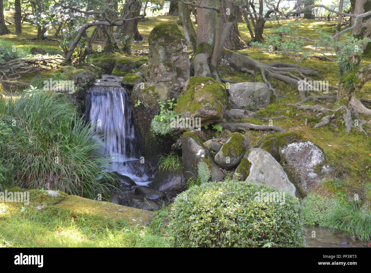 Ein Kleiner Wasserfall Im Garten