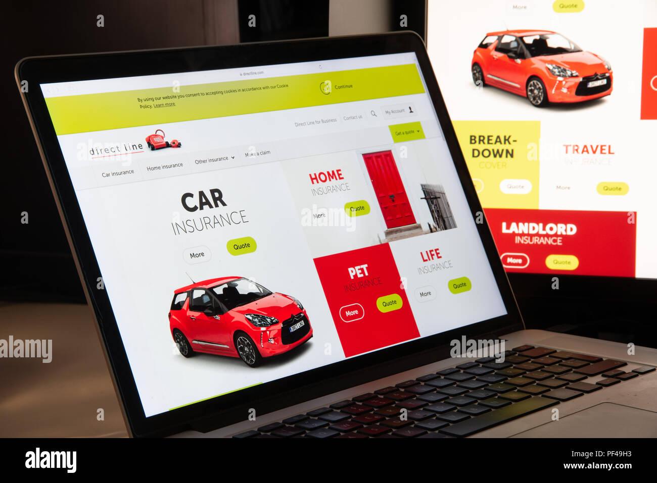Mailand Italien 15 August 2018 Direct Line Versicherung Homepage