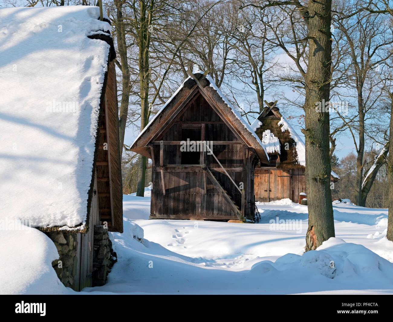 Naturpark Lüneburger Heide, Winter, Emhof, Wilsede, Gemeinde Bispingen, Landkreis Diepholz, Niedersachsen, Deutschland | Naturpark L Stockbild
