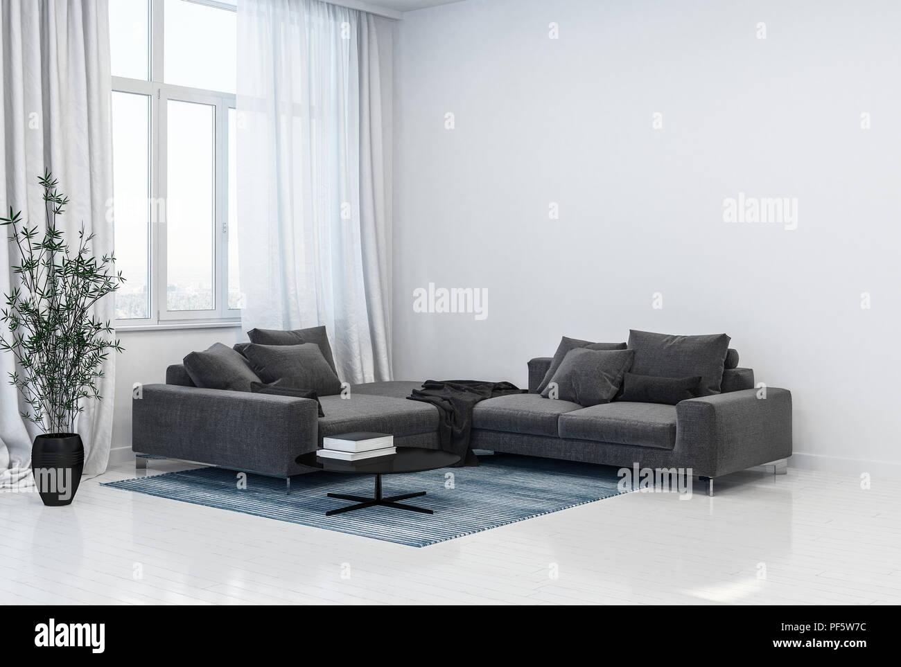 Einfarbig Grau und Weiß Wohnzimmer Interieur mit Ecke Sofas ...