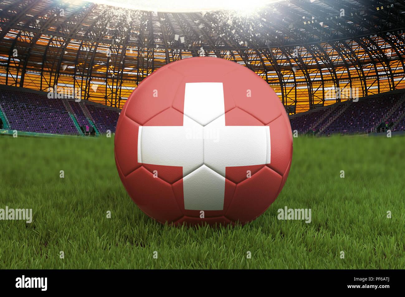 Schweiz Fussball Kugel Auf Grosse Stadion Hintergrund Schweiz