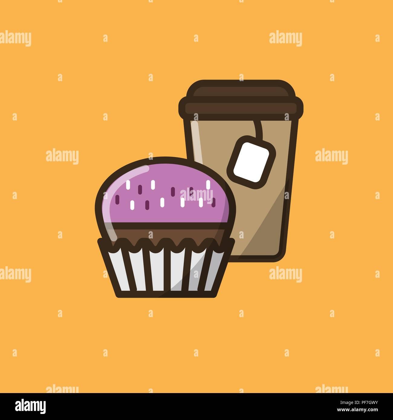 Kaffee Trinken Im Pappbecher Mit Deckel Und Tee Und Muffins Oder