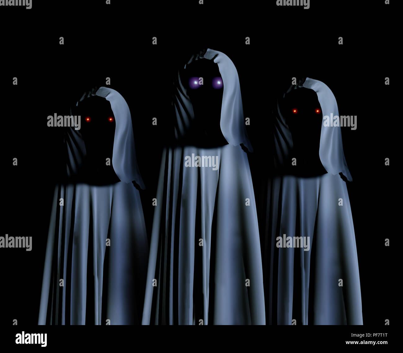Drei gruseligen Monstern in hooded Umhänge mit glühenden Augen. Auf schwarzem Hintergrund. 3D-Rendering Stockfoto