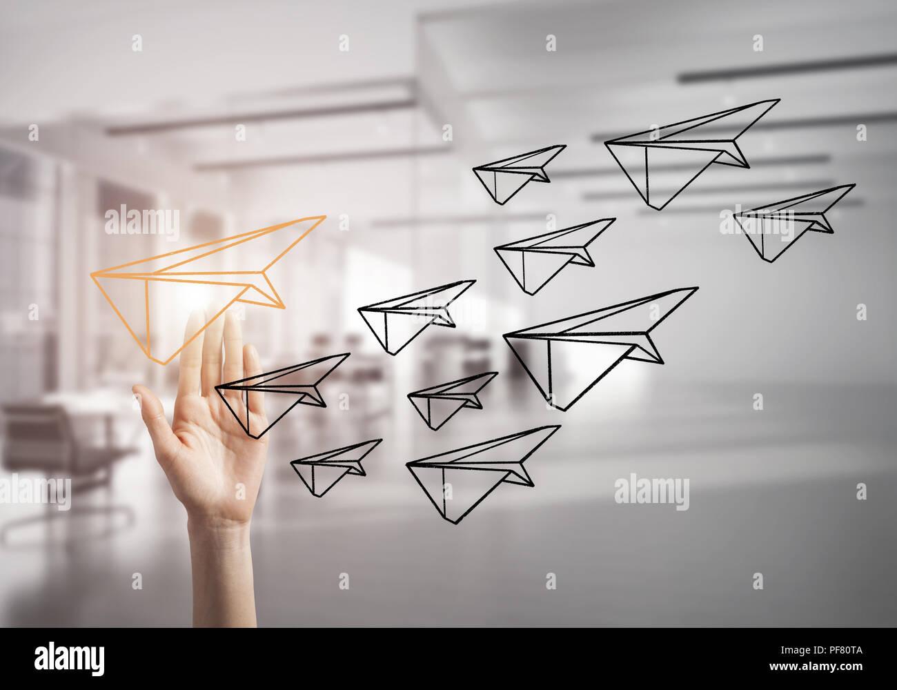 Konzept der Führung und Teamarbeit mit vielen Ikonen und eines Stockbild