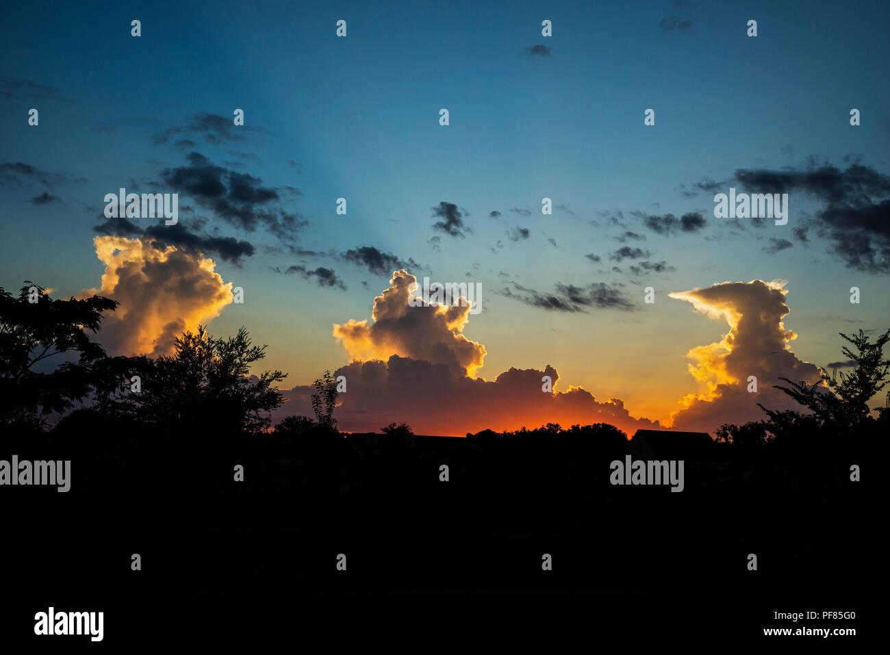 Sonnenuntergang Wolken in North Central Florida. Stockbild