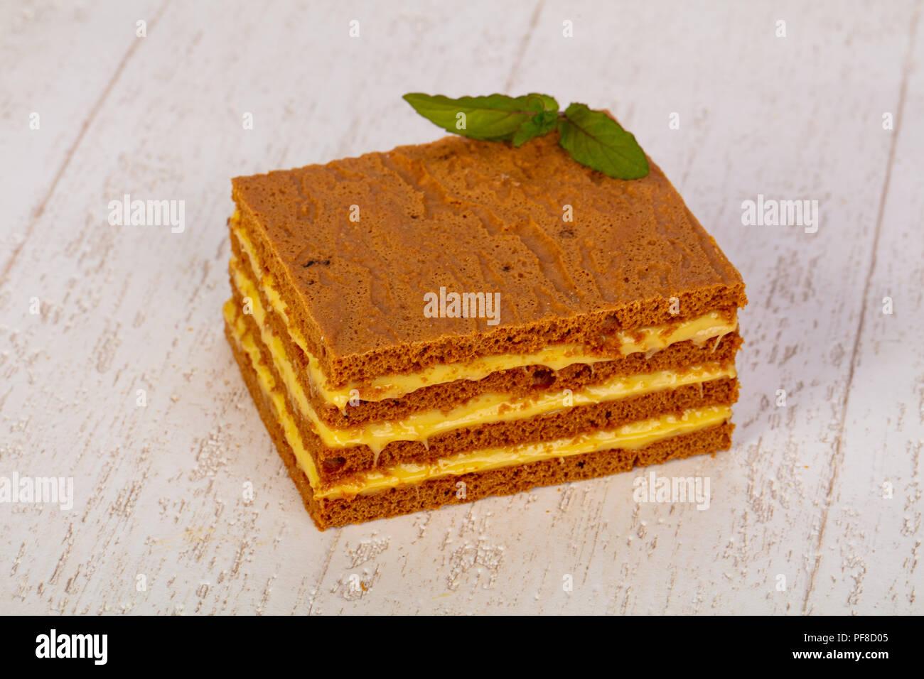 Lecker Honig Kuchen Russische Medovik Stockfoto Bild 215930069