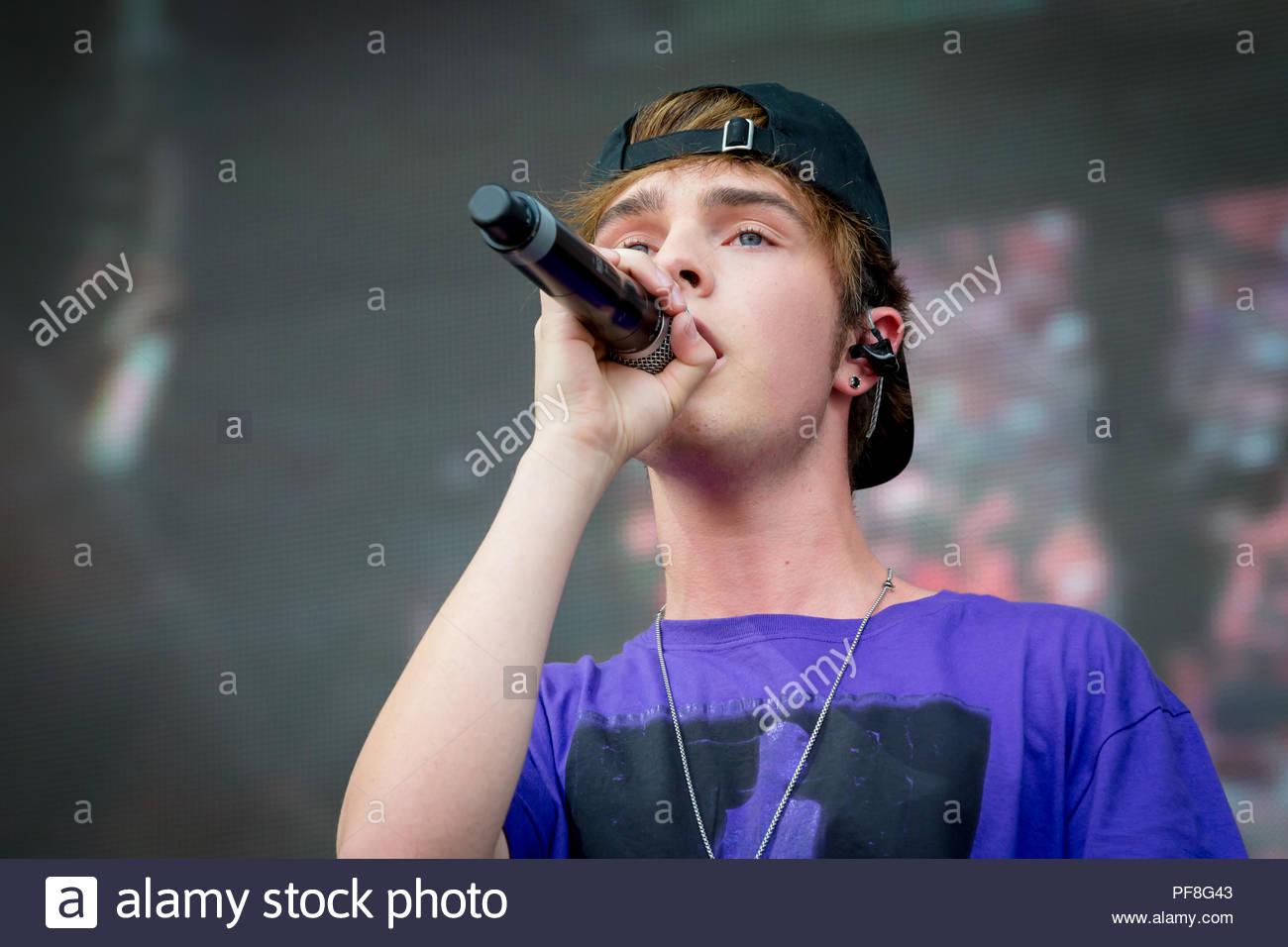 18.08.2018, Mike Sänger live beim Sterne für kostenlose Open Air 2018 von Berlins Hitradio 104.6 RTL in der Berliner Freilichtbühne Wuhlheide live auf der Bühne. Stockbild