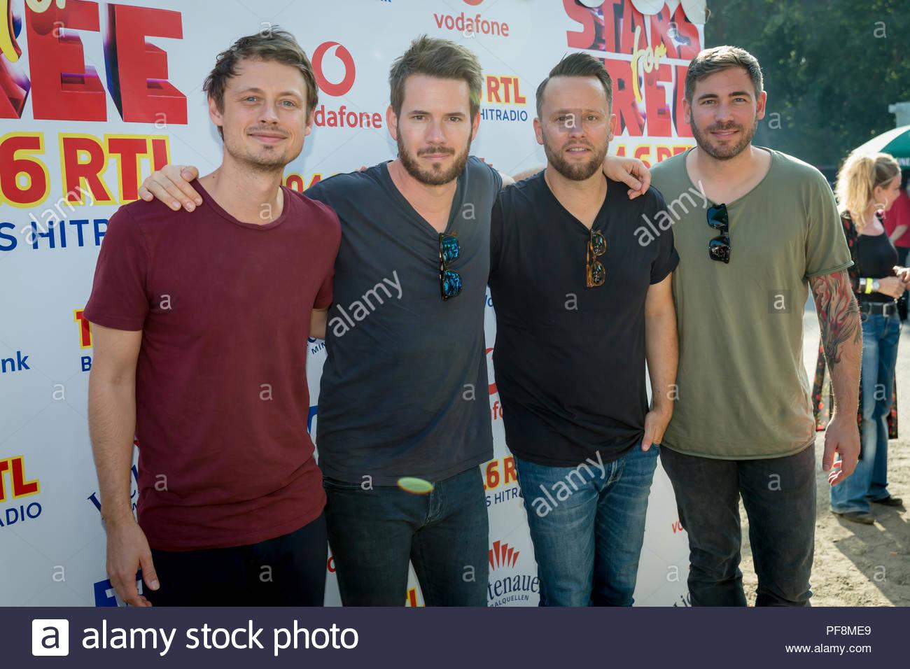 18.08.2018, Revolverheld Backstage beim Sterne für kostenlose Open Air 2018 von Berlins Hitradio 104.6 RTL in der Berliner Freilichtbühne Wuhlheide. Stockbild