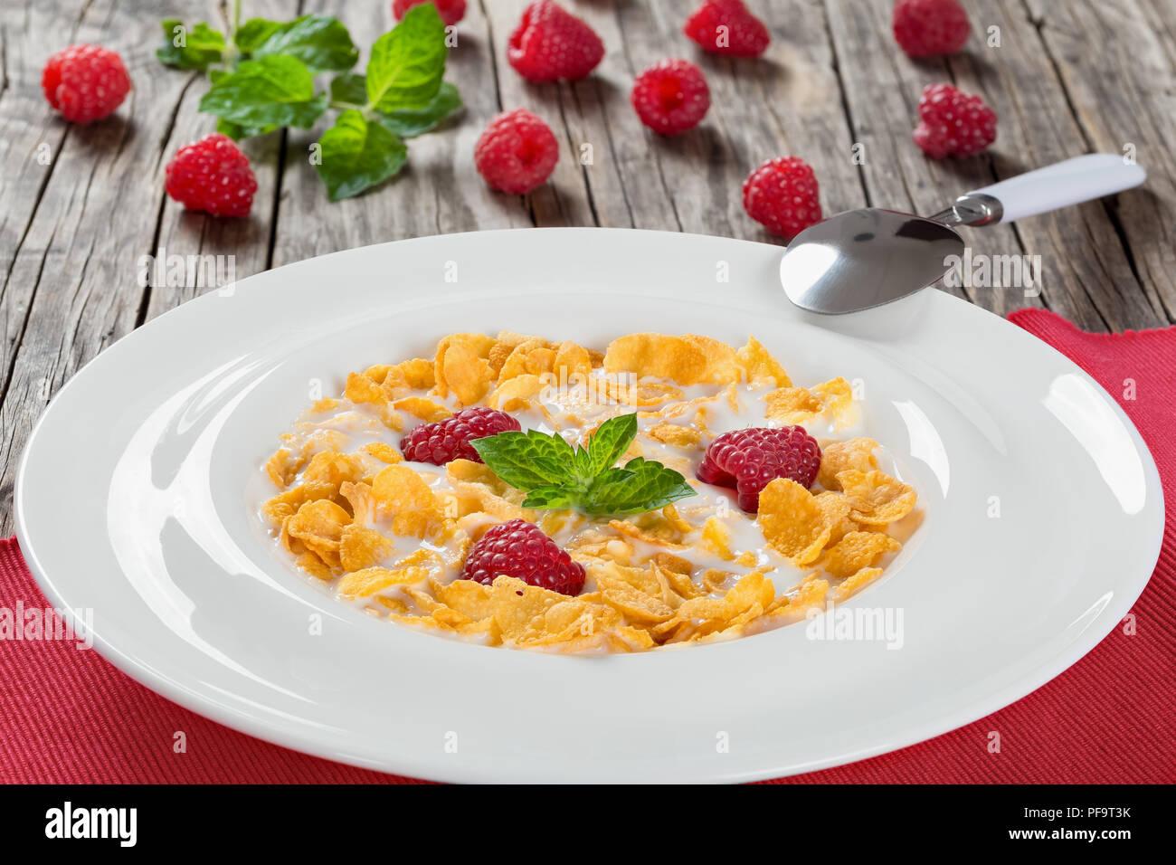 Knusprige Cornflakes mit Himbeeren und kalte Milch dekoriert mit Minze in weißer Teller am Tisch Matte mit sppon auf Holz Arbeitsplatte, traditionelle und Stockbild