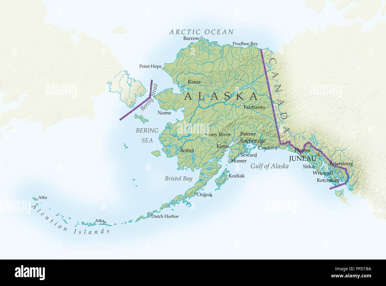 alaska karte Karte von Alaska, close up Stockfoto, Bild: 216030734   Alamy