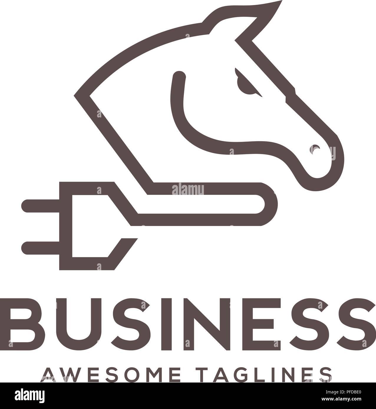 moderne, einfache linie logo eines pferdes und steckdosen logo