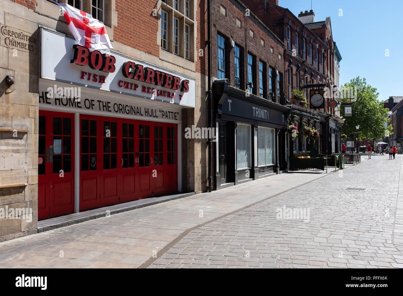 Bild von Kingston Upon Hull Großbritannien Stadt der Kultur 2017. Bob Carver chip Shop ist eine berühmte lokale Einrichtung. Stockbild
