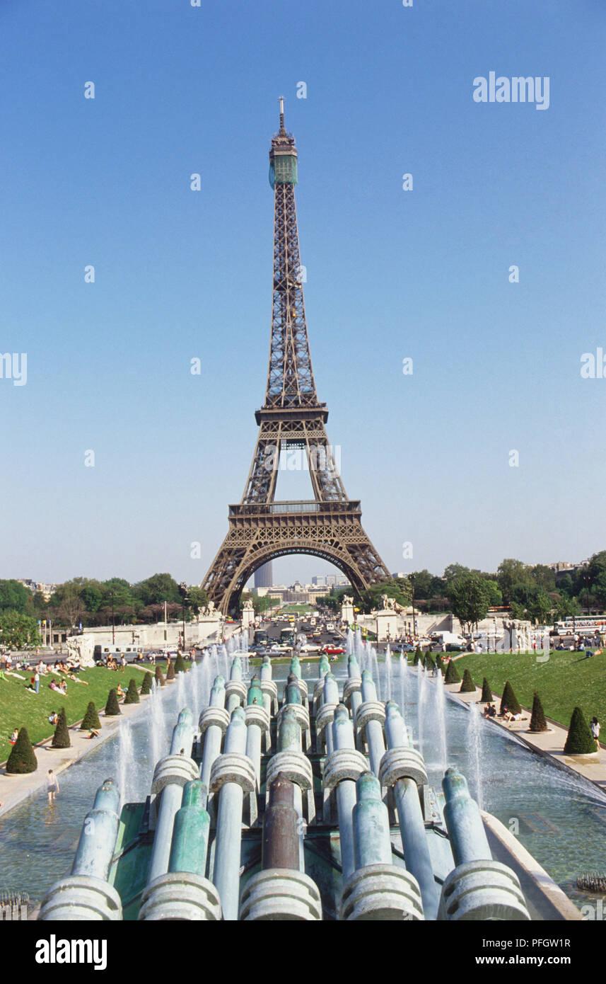 Frankreich Paris Eiffelturm Trocadero Steht über Die Brücken Und