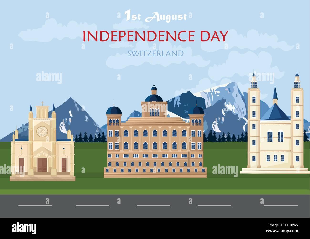 Tag der Unabhängigkeit in der Schweiz Vektor. Der Schweizer Nationalfeiertag 1.August hintergrund abbildung Stock Vektor