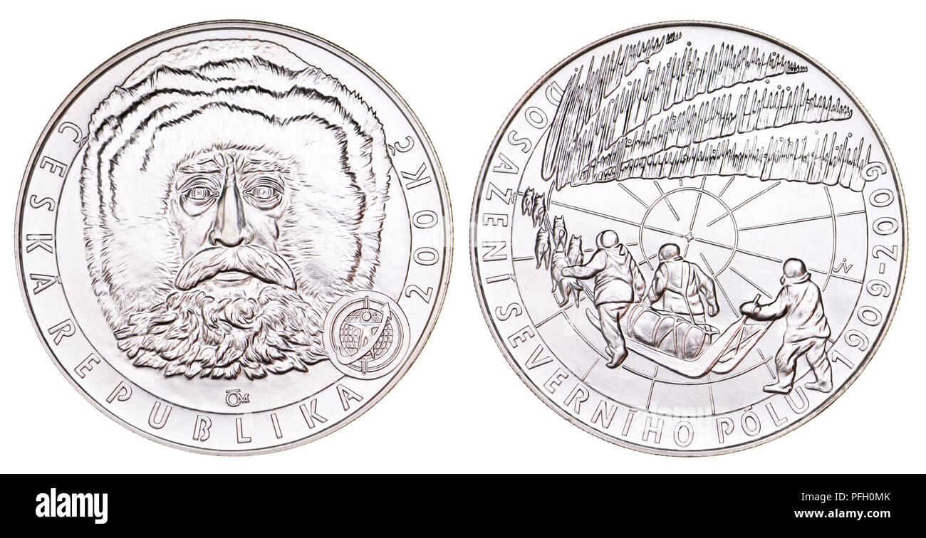 200 Kc Silber Gedenkmünze aus der Tschechischen Republik. 100. Jahrestag der Erreichung des Nordpols von Arctic explorer Robert Peary Stockbild
