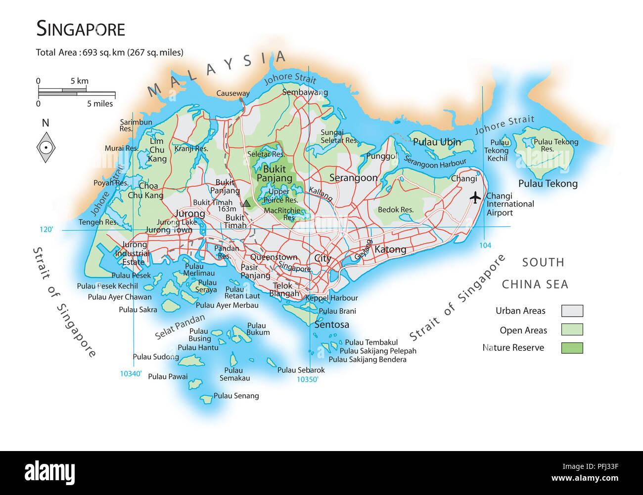 Karte Von Singapur Stockfoto Bild 216141843 Alamy