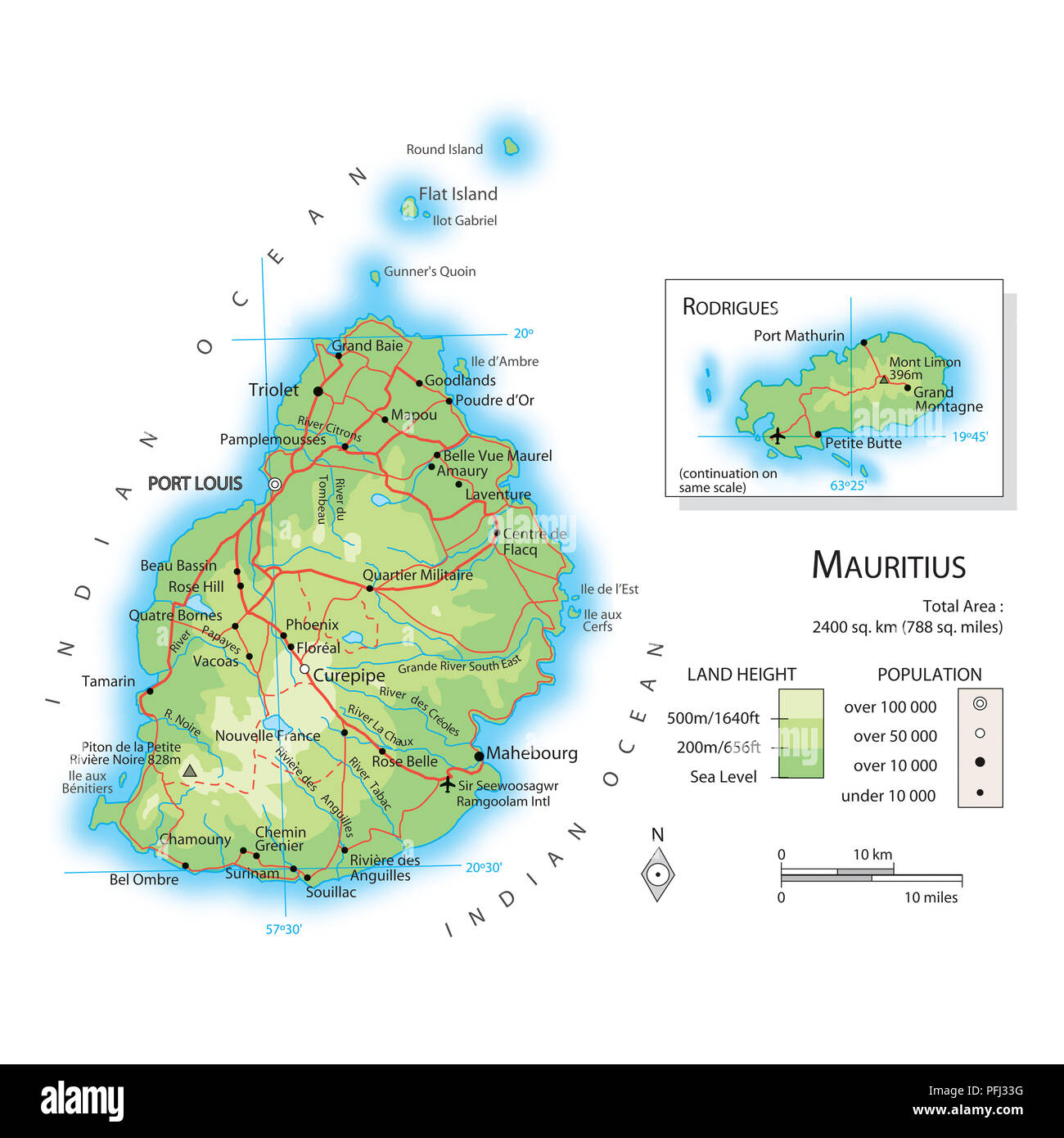 Karte Von Mauritius Stockfoto Bild 216141844 Alamy