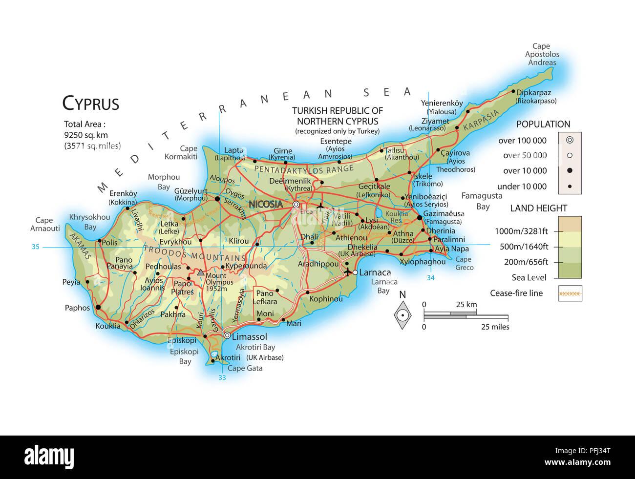 Karte Von Zypern Stockfoto Bild 216141880 Alamy