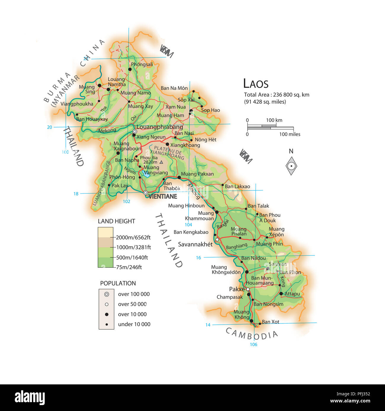 Laos Karte.Karte Von Laos Stockfoto Bild 216141886 Alamy