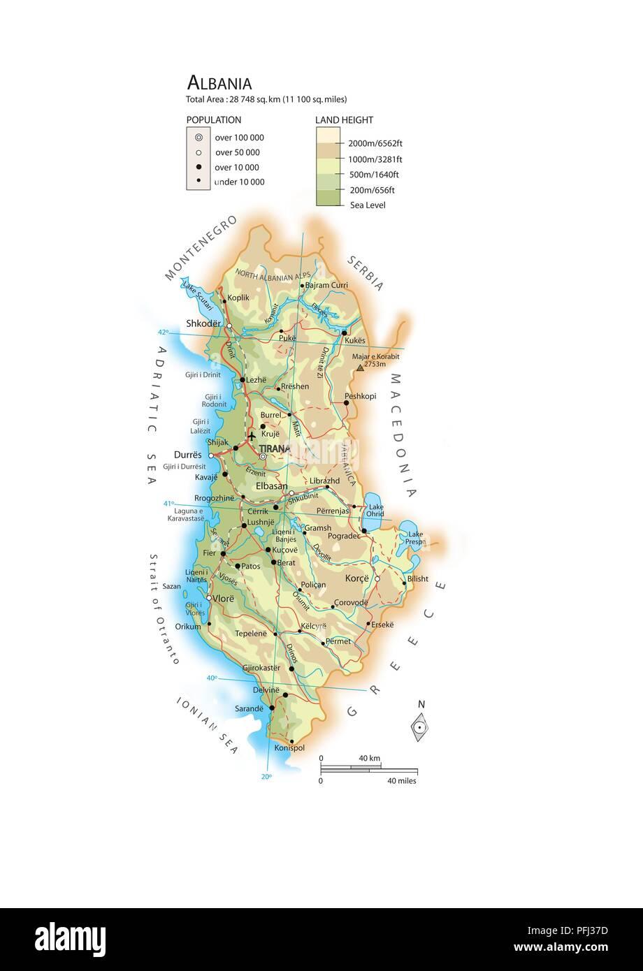 Karte Albanien.Karte Von Albanien Stockfoto Bild 216141953 Alamy