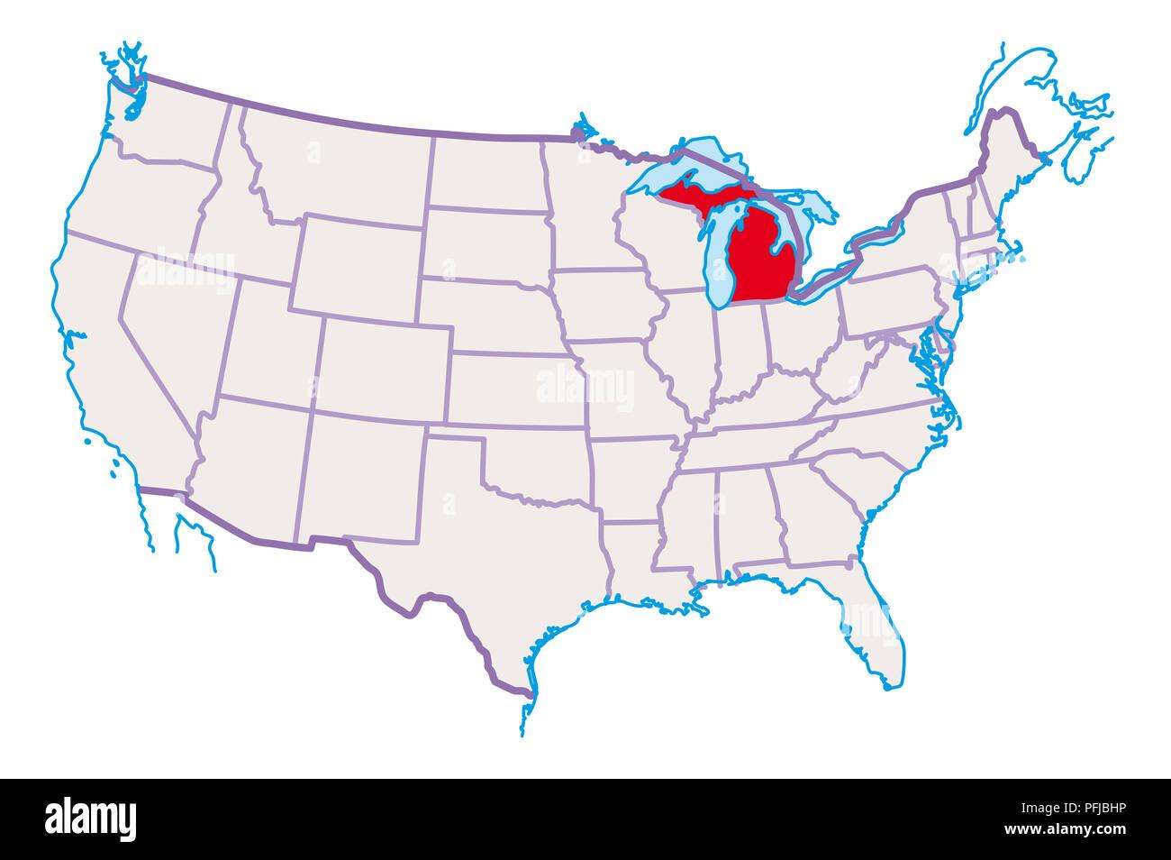 Karte Von Usa Michigan In Rot Hervorgehoben Stockfoto Bild