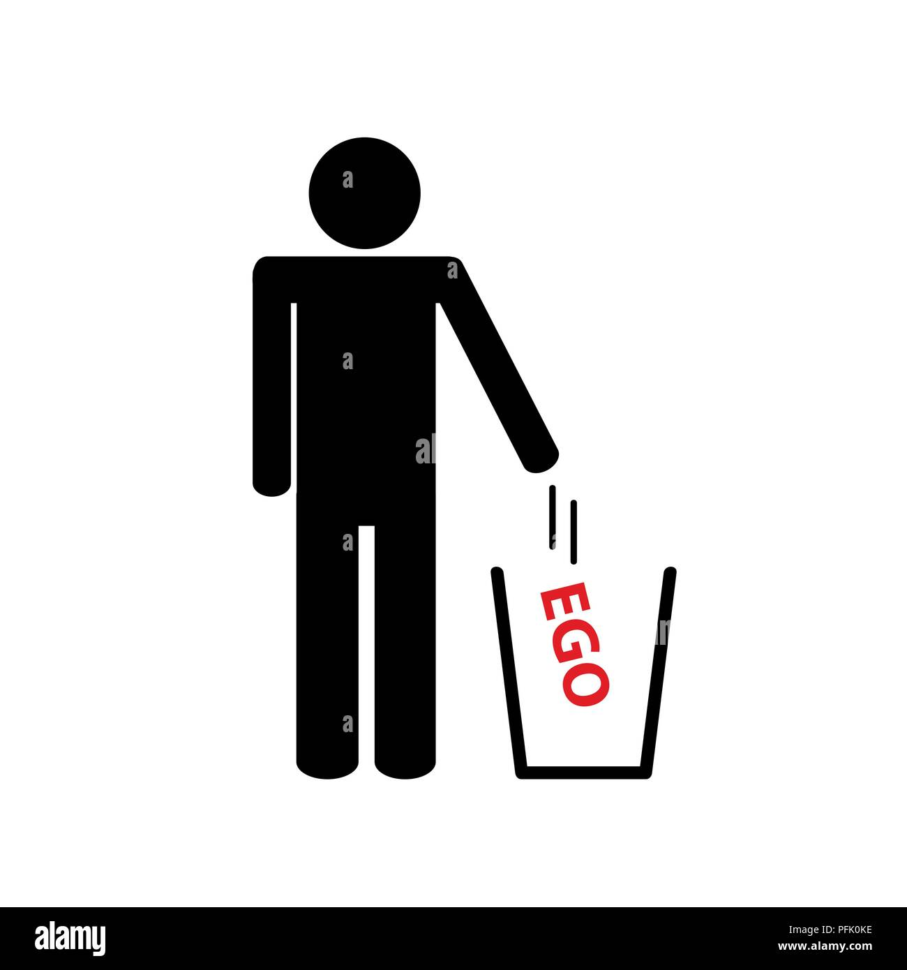 Mann wirft Ego entfernt Piktogramm Vektor-illustration EPS 10. Stockbild