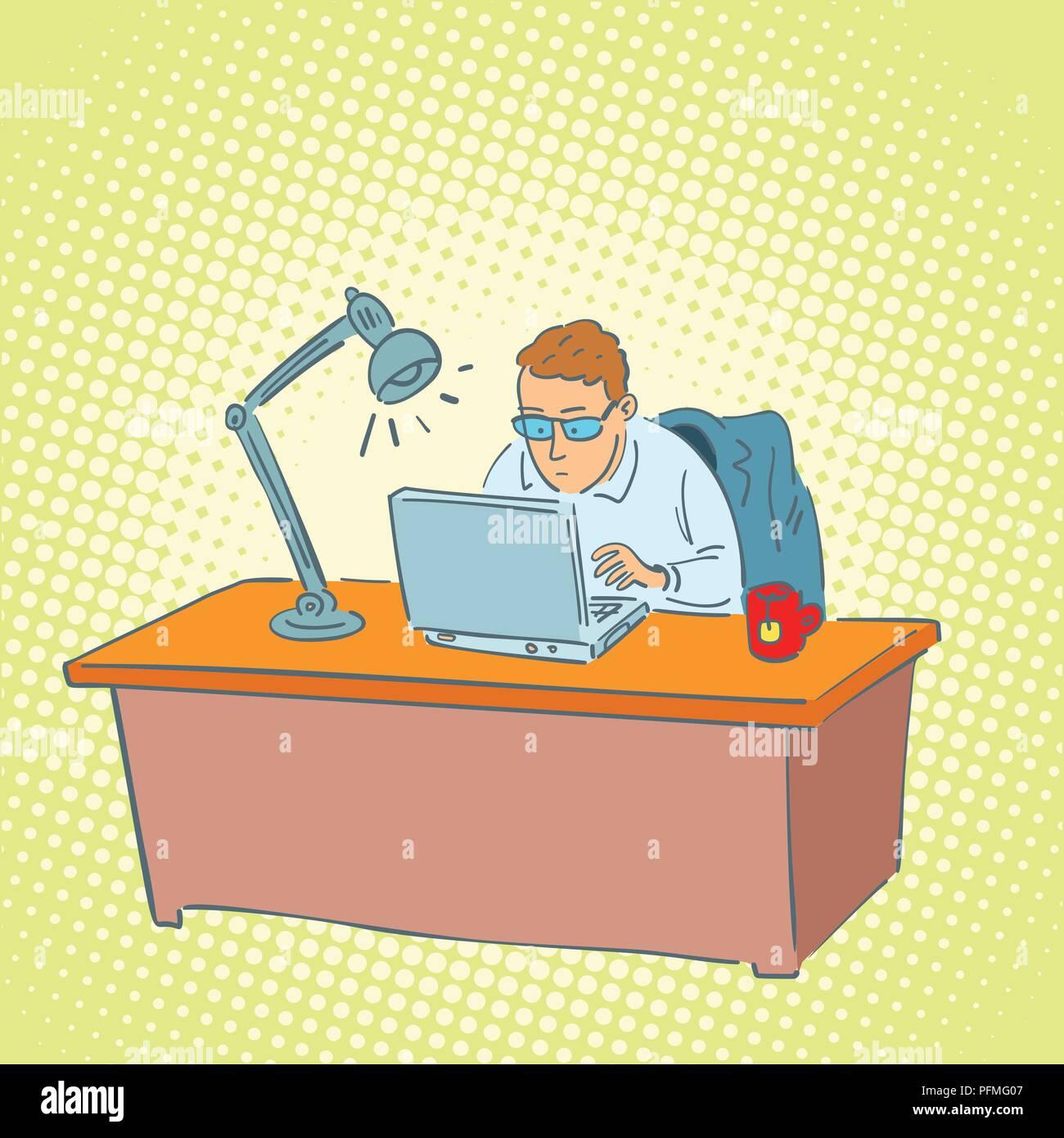 Unternehmer Im Buro Auf Einem Laptop Comic Cartoon Pop Art Retro