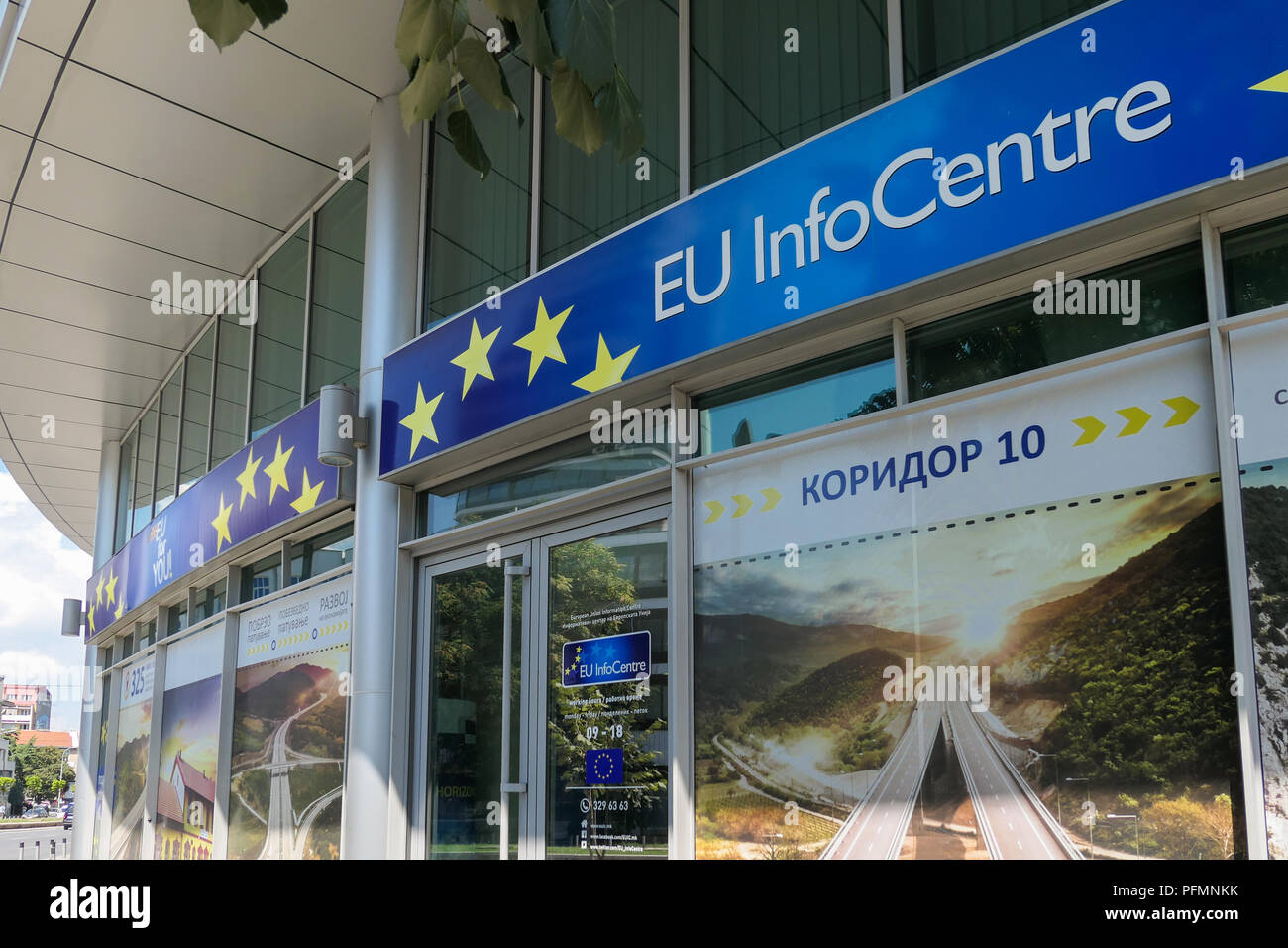 EU-Info Center, Skopje, Mazedonien Stockbild