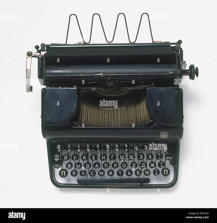 Kyrillische Alphabet Schreibmaschine aus Russland, Ansicht von ...