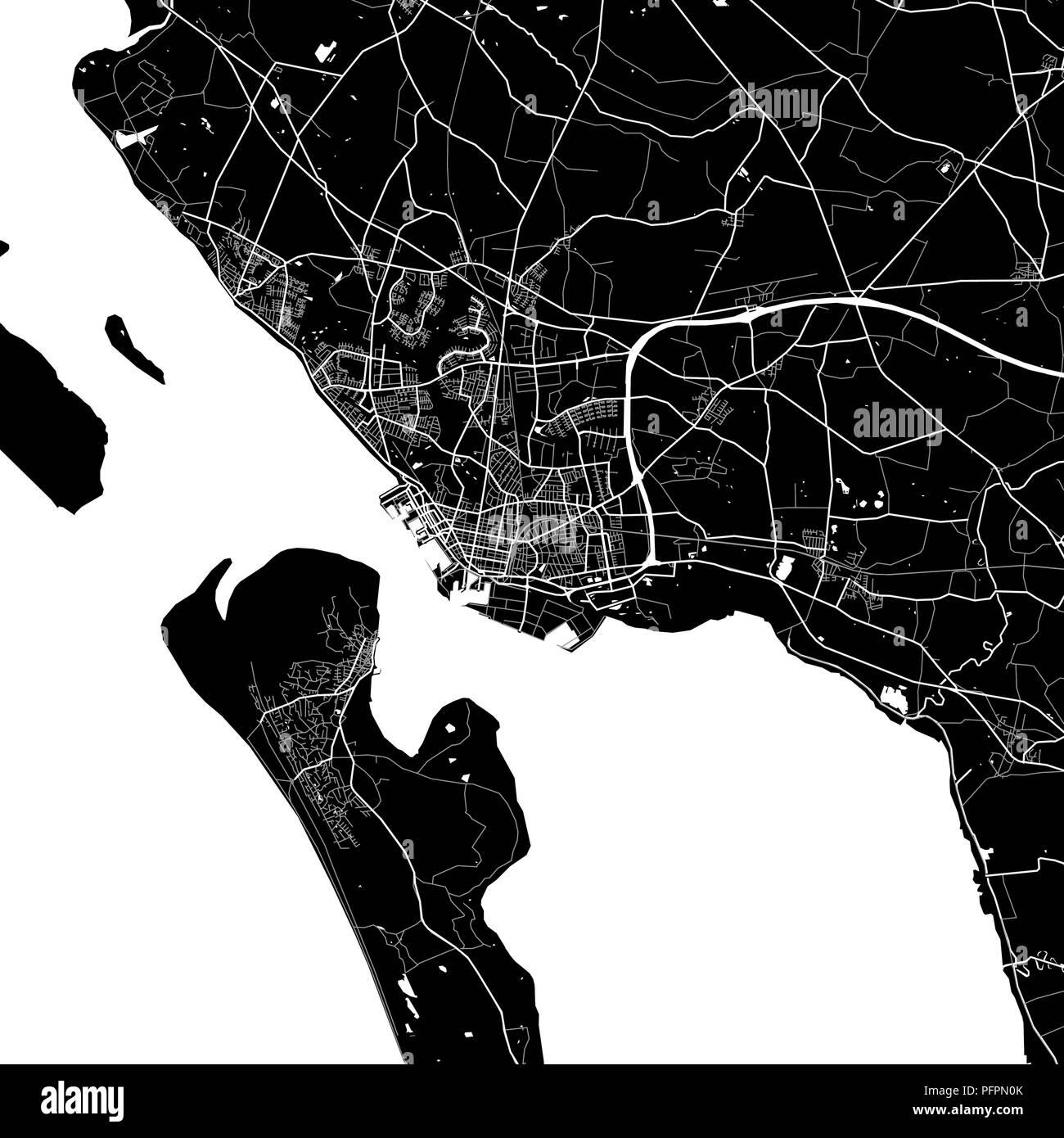 Lageplan von Esbjerg, Dänemark. Der dunkle Hintergrund ...