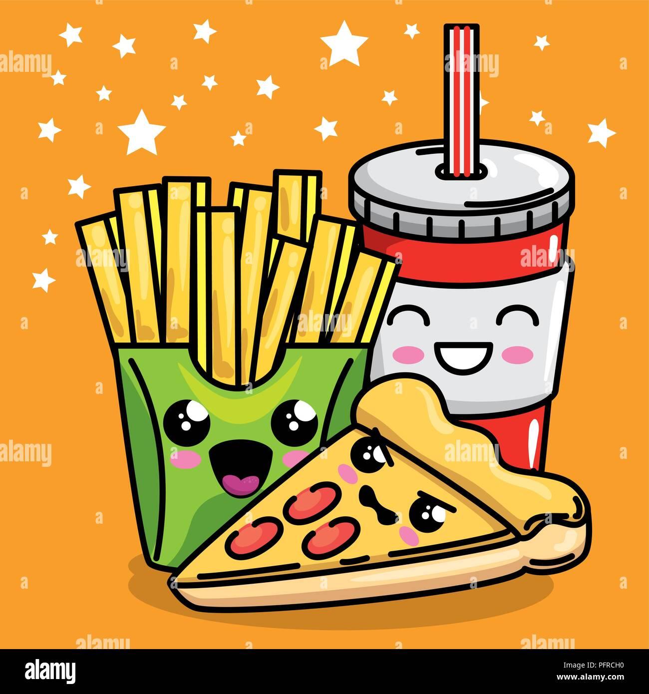 Kawaii Cute Happy Pizza Food Stockfotos Kawaii Cute Happy