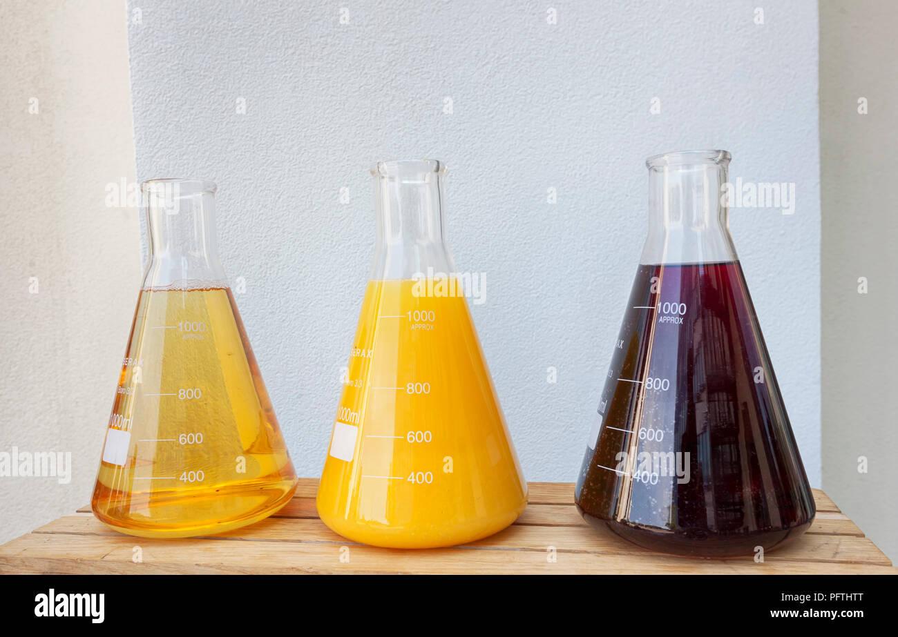 Glas konisch Erlenmeyerkolben gefüllt mit Fruchtsäften. Vitamin Konzept. Lösung des Vitamins im Labor Flaschen. Gesundheit und Schönheit Stockbild
