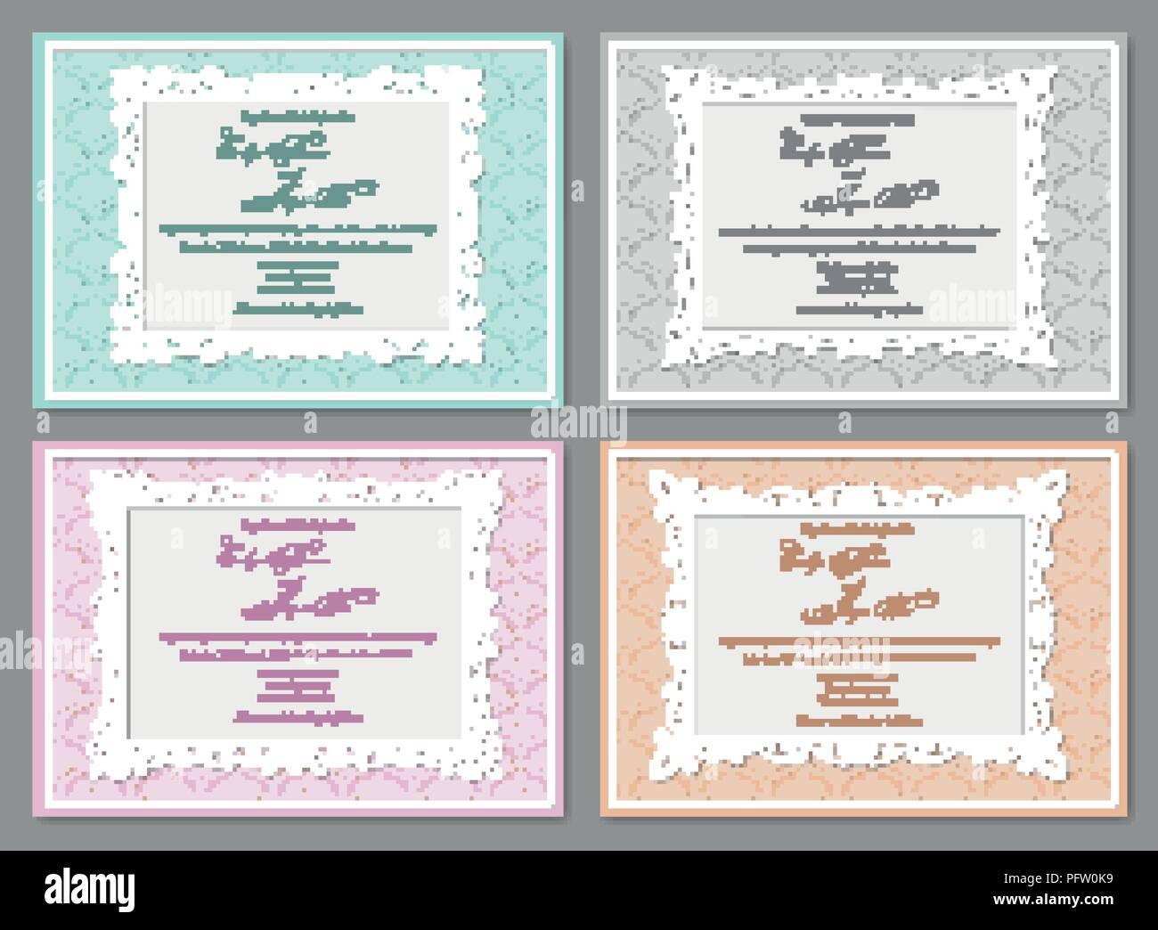 Vektor Einrichten Der Schönen Hochzeit Einladungen Postkarten