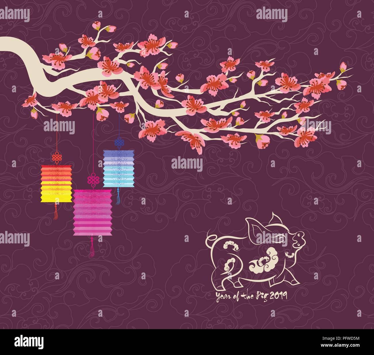 Frohes Neues Jahr 2019 Grußkarte. Chinesisches Neues Jahr des ...