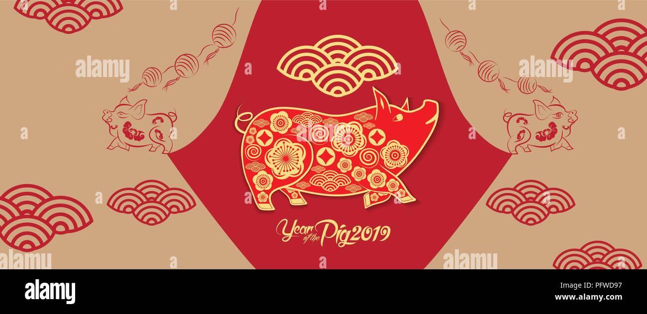 Frohes neues Jahr 2019. Chinesisches neues Jahr Grüße, Jahr des ...