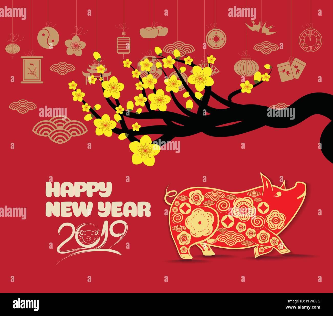 Happy Chinese New Year 2019 Sternzeichen mit gold Papier Kunst und ...