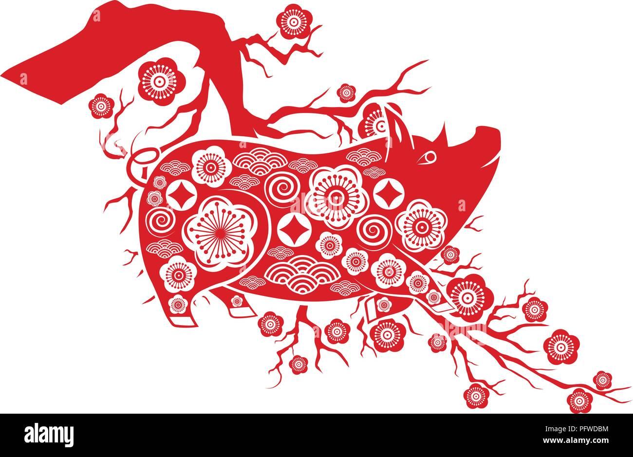 Happy Chinese New Year 2019 Jahr des Schweins Neujahrsfest Vektor ...