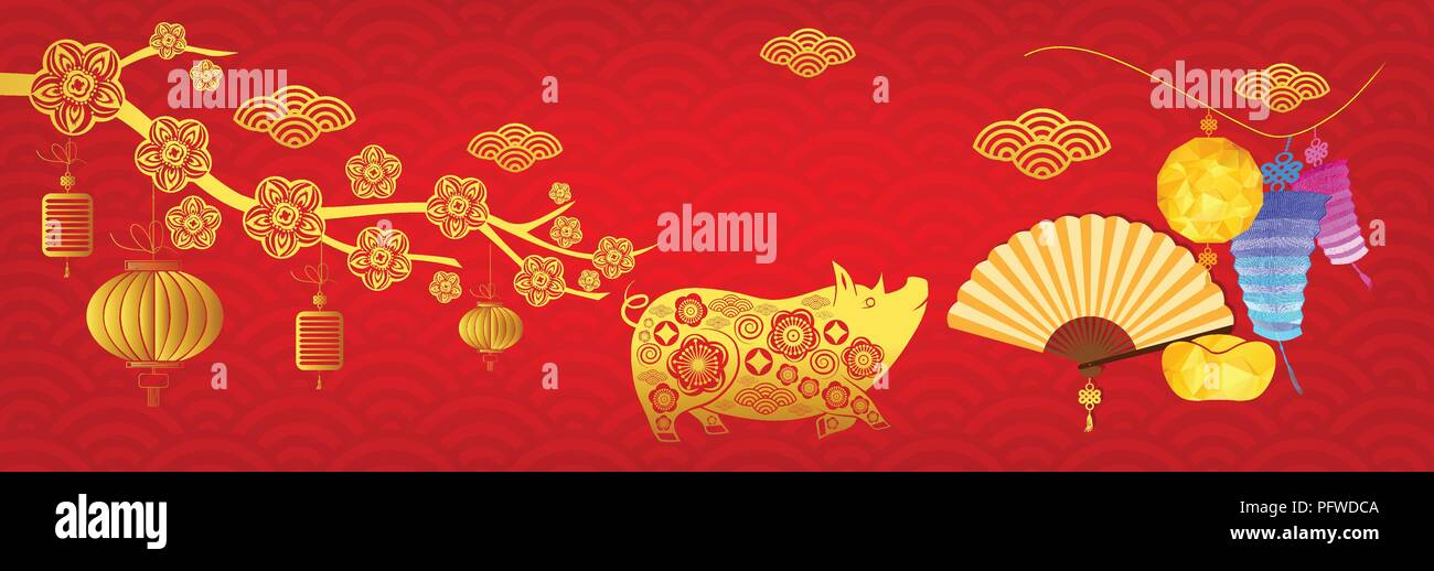 Frohes neues Jahr 2019, Chinese New Year greetings Card. Jahr des ...