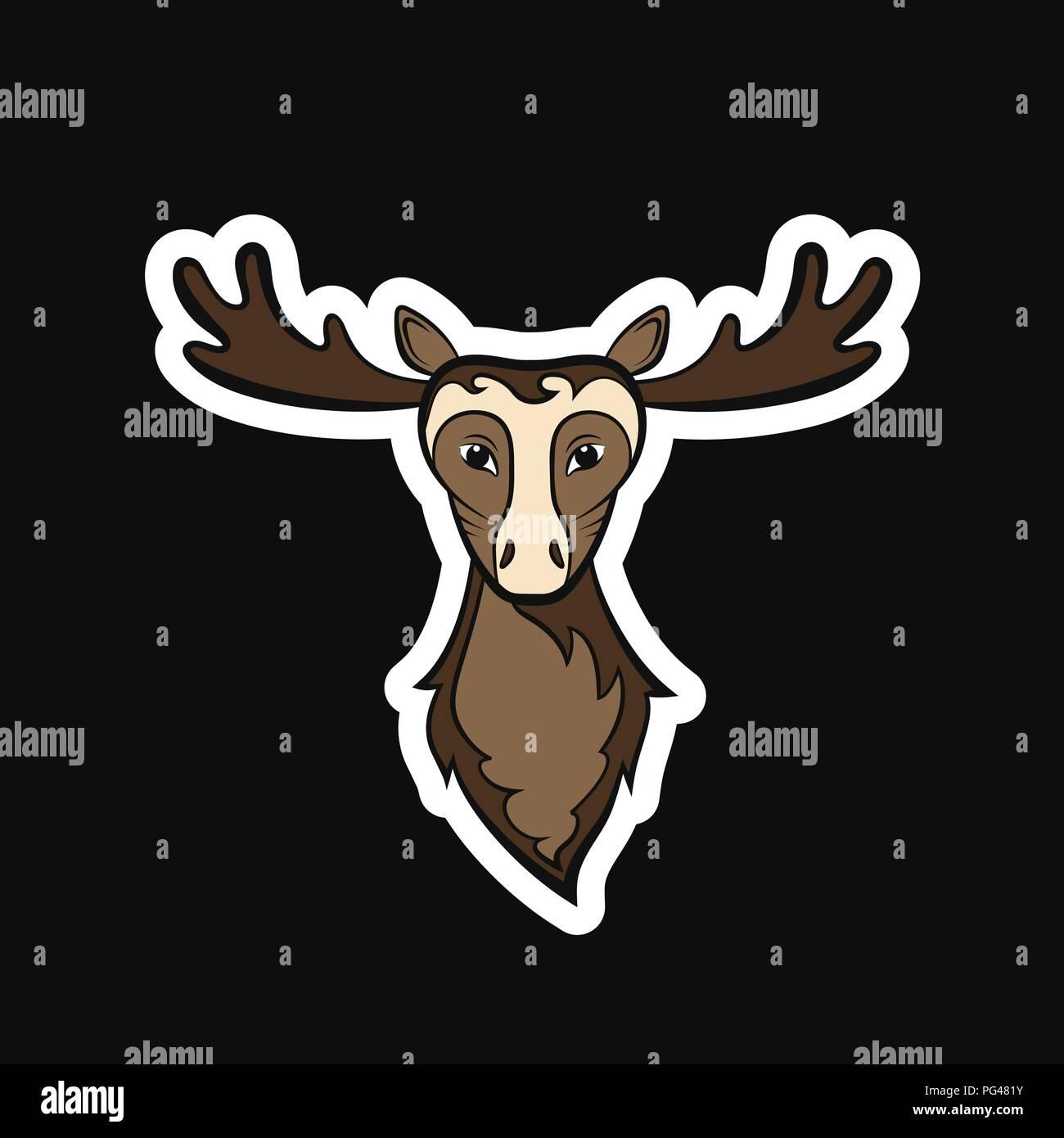 Kopf von einem elch zeichnung auf einem schwarzen hintergrund vector illustration aufkleber stockbild