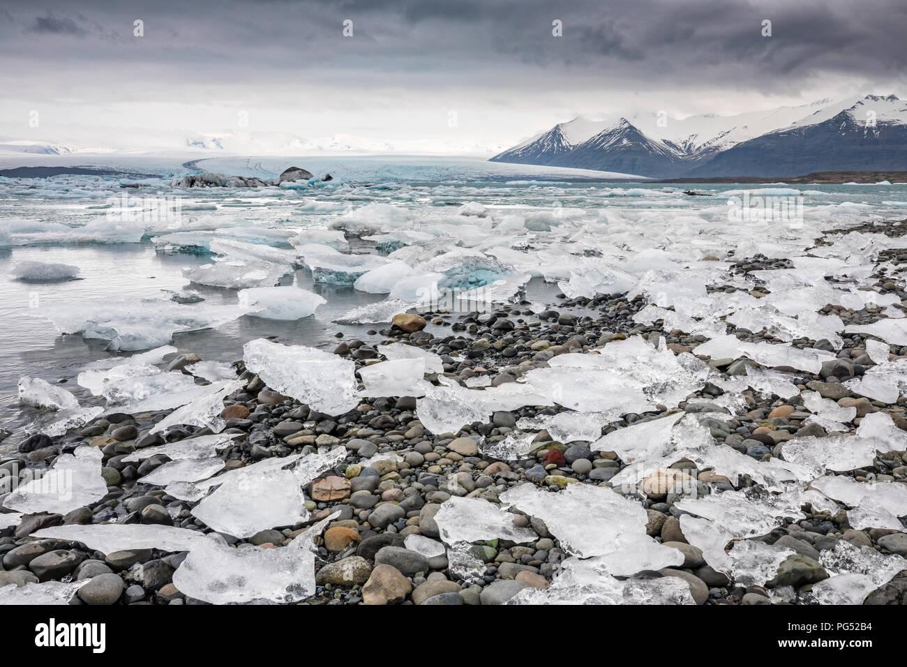 Island Gletscherlagune, Gletscherlagune Jokulsarlon Stockbild