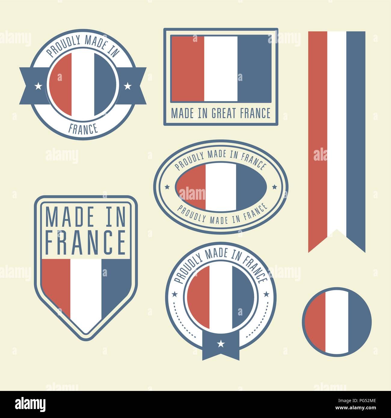 Aufkleber Etiketten Und Aufkleber Mit Flagge Frankreich
